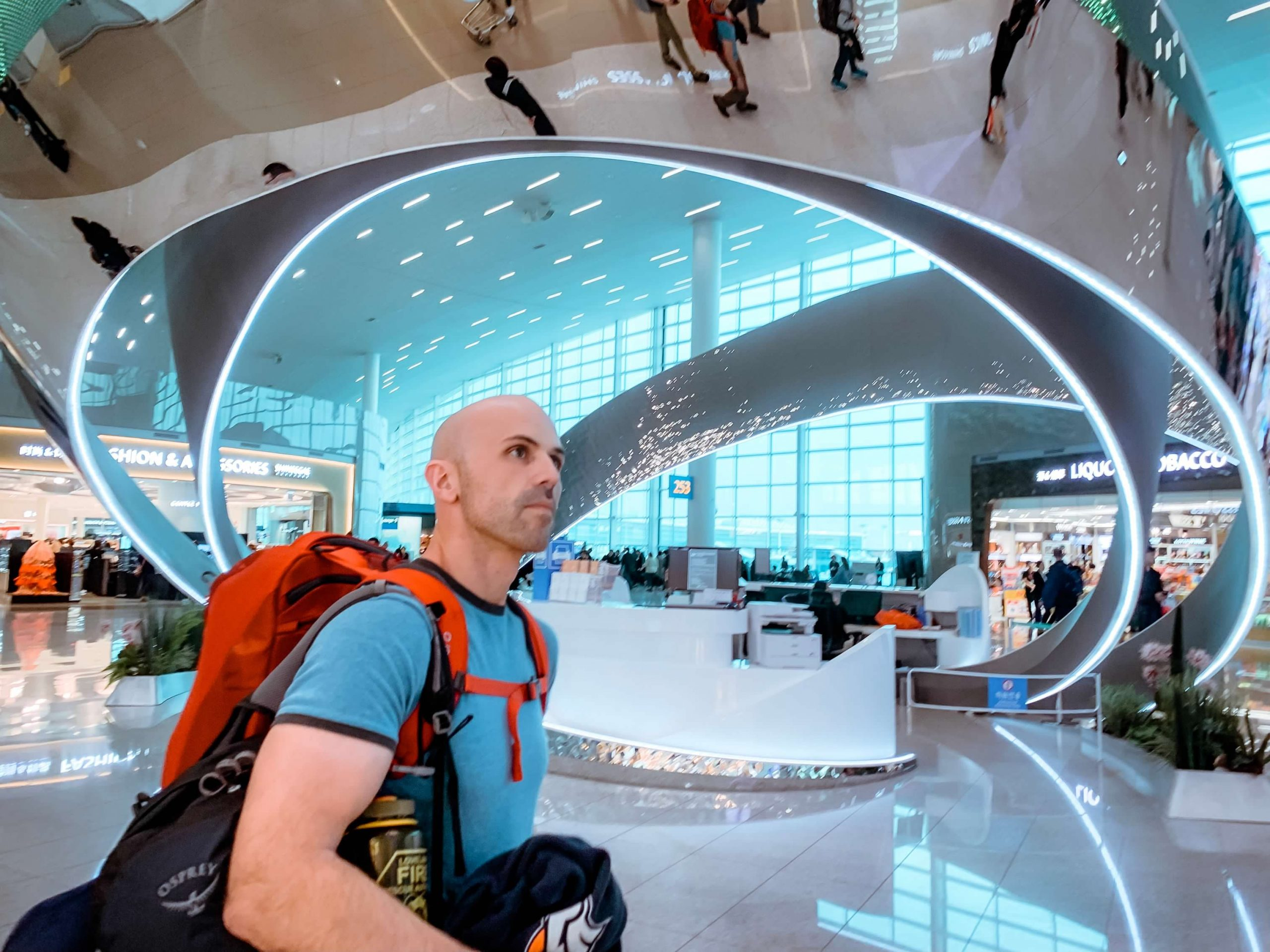 Osprey Porter 46 Travel Backpack in Incheon International Airport in South Korea