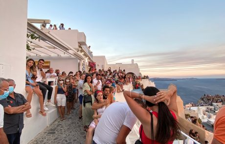 Crowds of Tourists Gathered for Sunset in Oia, Santorini