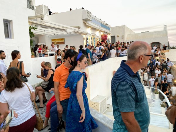 Crowds in Oia at Sunset