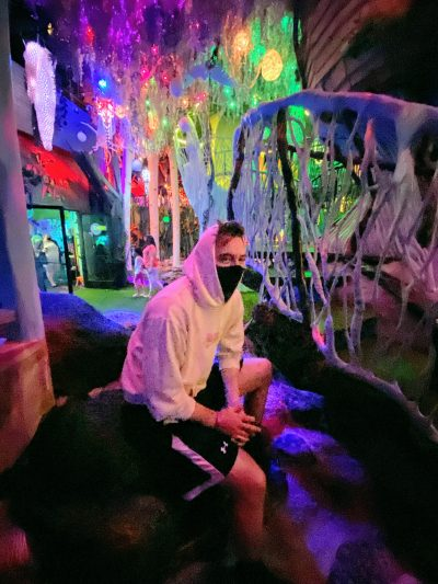 Aaron Owen at a less crowded Meow Wolf during COVID