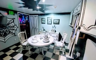 Black and white room at Meow Wolf in Santa Fe, NM